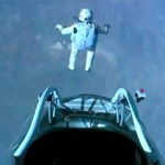 Felix Baumgartner jumping off from his capsule