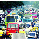 Traffic snarl in north Bangalore during peak hours